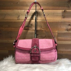 Coach Mini Signature SoHo in Pink Canvas W/ Suede